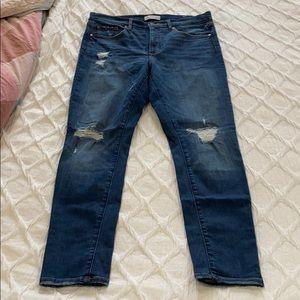 Loft jeans. Modern high waist. Distressed. Size 12